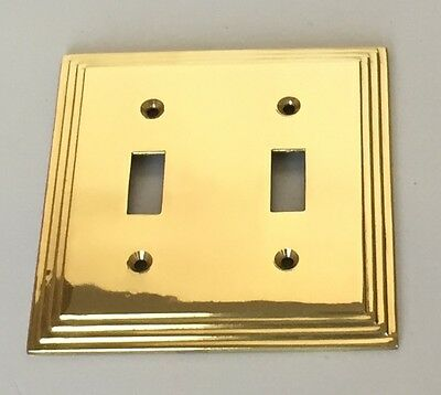 Brass double pole light switch wall cover plate Toggle