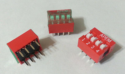 Slide DIP Switches 4-Pos. OFF ON SPST PCB Mount APEM NDS04TV Buy2Get1FREE 10pcs