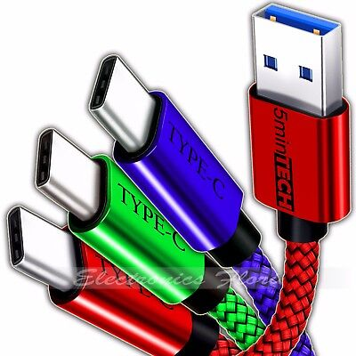 ✔ [3 PACK] Type-C Nylon Braided USB Data Sync Charger Charging Cable Cord