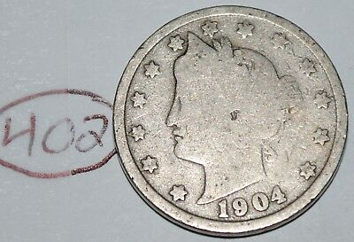 United States 1904 Liberty Head Nickel USA 5 Cents Coin Lot #402
