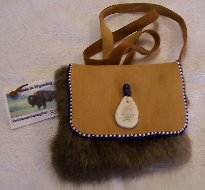 Hand Made Beaded Beaver Fur Pouch Rendezvous Black Powder Mountain Man 2