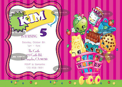 Shopkins Birthday Invitation   Personalized   Digital Printable