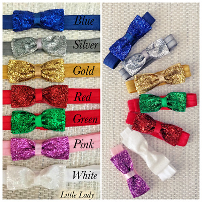 Baby Girl Bow Headband Sparkly Glitter Hairband White Ivory Navy Gold Pink Red