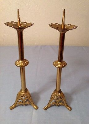 French Antique Solid Brass Matching Pair ALTAR STICKS Reduced More thanHalf/56%!