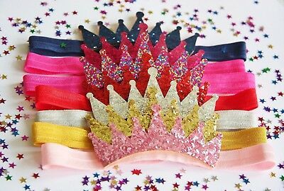 Sequin Dress Sparkle Glitter Crown Baby Girl Elastic Headband Party photo prop