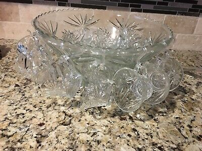 Large Vintage Antique Eapg Glass Punch Bowl 16 Cup Glass Ladle & Tray Party Set