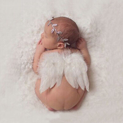 Cute Newborn Baby Girl Boy Angel Wings Headband Photo Props Silver Costume XB