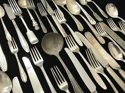 Large 50-Piece Lot of Vintage & Antique Silverplate Silverware WOW! (RF653-5)