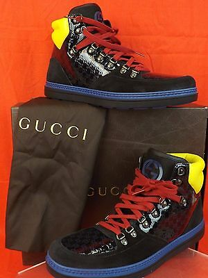 312ab81af11 Nib Gucci Black Neon Suede Gg Guccissima Limited Hi Top Sneakers 9 Us 10  392167
