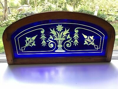 Ant. Arch Top Wood Framed Transom Window Cobalt Blue Cut to Clear Stained Glass