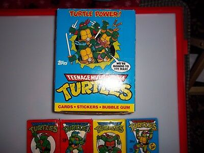 1989 Topps Teenage Mutant Turtles trading cards empty box 8 Diff unopened packs!