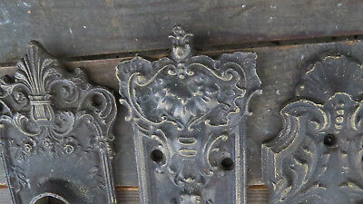 THREE Old, Vintage, Antique, ORNATE BRONZE BACK PLATES High Quality Beautiful