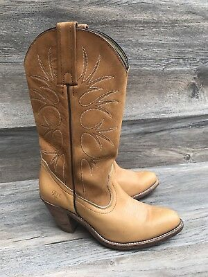 d3565855c7a FRYE BILLY COWBOY Boots Women's 7.5B Leather Pull On Tan Sanguine Cowgirl  Heels