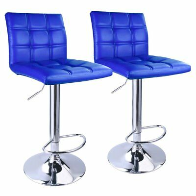 Set 2 Blue Air Lift Adjustable Stools Faux Leather Seat Swivel Chrome Bar Chair