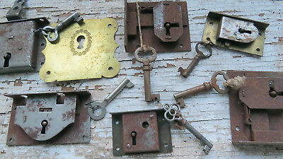 SIX Assorted Old Vintage Antique Cabinet Furniture LOCKS With Skeleton KEYS