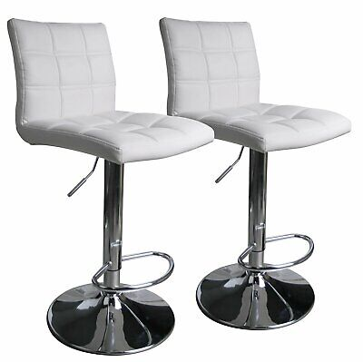 Set 2 White Air Lift Adjustable Stools Faux Leather Seat Swivel Chrome Bar Chair