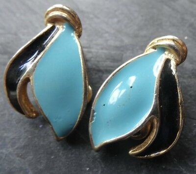 vintage turquoise & black enamel leaf flower gold tone clip on earrings 70s -84
