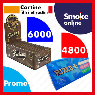 Cartine Smoking Brown Corte 6000 2 Box e 4800  Filtri Ultraslim 5,7 Rizla 2 Box