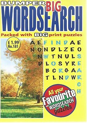 3 Big Print Word Search Magazines  With 90+ Puzzles Solutions In Back (Set 35)