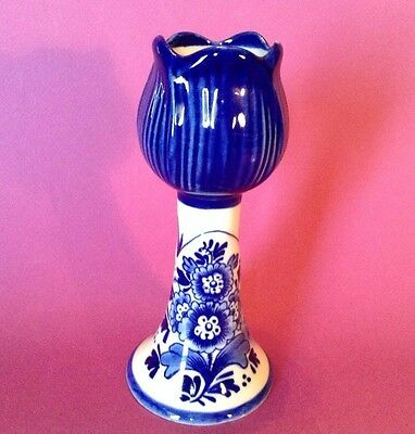 Delft Blue Tulip Candle Holder - Pattern 051158 Blue And White - Holland