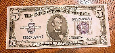 1934 Series D $5 DOLLAR SILVER CERTIFICATE BLUE SEAL NOTE