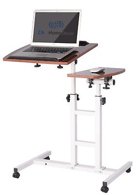 Premium Rolling Over Bed Table Laptop Food Tray Hospital Desk With Tilting Top
