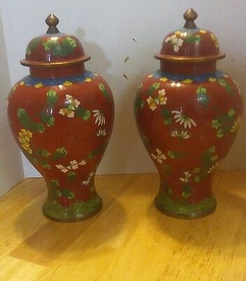 Vintage Pair Of Chinese Cloisonne Ginger Jars