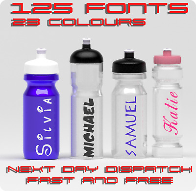 2 x Custom  Decals/ Personalised Name/word Vinyl Decal Sticker Bottle Style Text