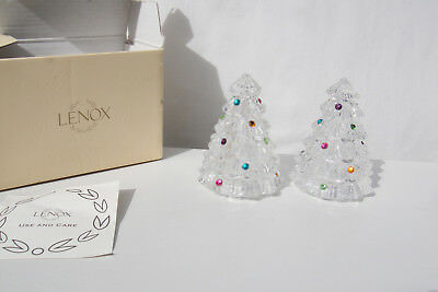 "Lenox Full Lead Crystal Christmas Tree Salt & Pepper Shaker Set 3 1/4"" Tall"