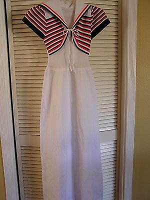 Vintage Retro 1970's White Sailor Collar Orange Blue Maxi Long Dress Women's S