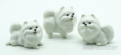 Figurine Animal Ceramic Statue 3 White Pomeranian Dog - CDG028