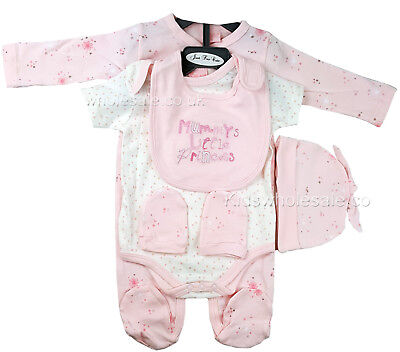 Baby Girls 5 Piece Clothing Layette Gift Set Pink Princess (0-6 Months)
