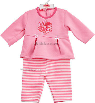 Baby Girls Fleece Top & Leggings Outfit - Pink - Snowflake (Newborn - 6 Months)
