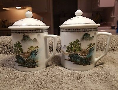Vintage Tea / Coffee Mug/Cups With Lids -  Made In China Set of 2