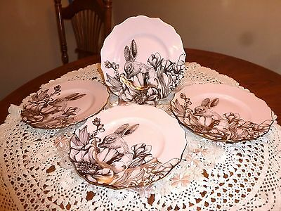 Set Of 4 222 Fifth Garden Playtime Pink Gold Bunny China Salad Dessert Plates