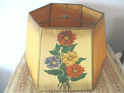 Large Antique Heavy Paper Hexagonal Shade for Tole or Vintage Table Lamp