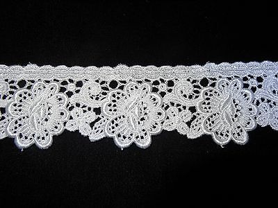 "10 yds for $16.99 1 1//4/"" Wide Floral Venise Lace in White Rayon"