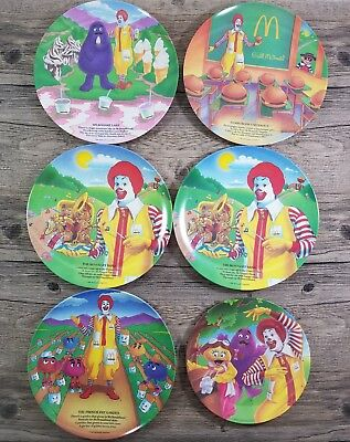 Lot of 6 Vintage 1989 1991 McDonalds Characters Collectible Melamine Plates