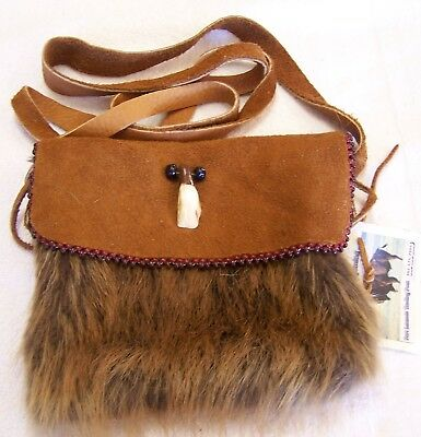 Hand Made Beaded Beaver Fur Pouch Rendezvous Black Powder Mountain Man 10