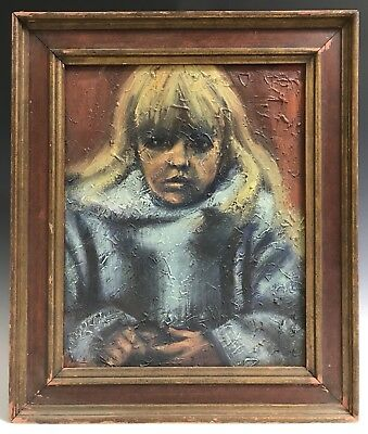 Vintage Oil on Canvas Portrait Painting of a Young Blond Girl Framed