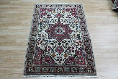 Old Hand Made Persian Tabriz rug with floral design 140X 100 CM