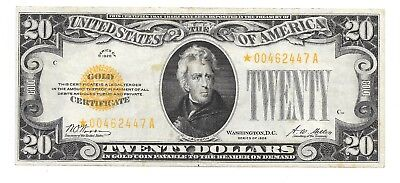 1928 $20 Twenty Dollars *Star* Gold Certificate Currency Note