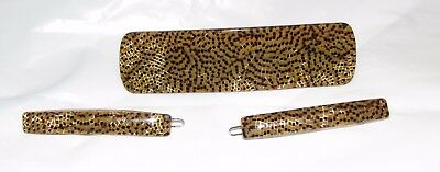 Vintage Lot of 3 Matching Resin Animal Skin Style Barrettes for Thick Hair
