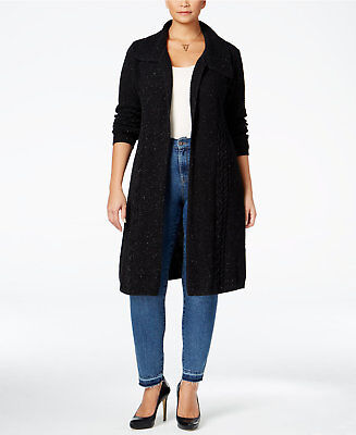 Style & Co. Womens Plus Size Cable-Knit Duster Cardigan 1X Deep Black