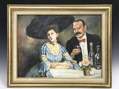 Wall Decor Acrylic on Canvas Painting Monsieur et Madame Drinking at a Table