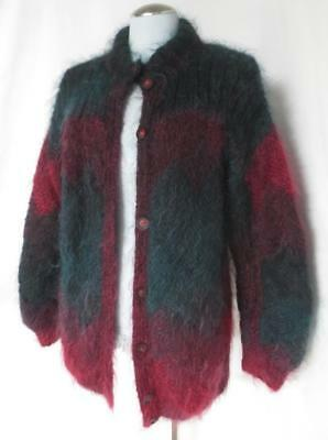 Furry Vtg Over Sized Cardigan Sweater Mohair Long Hair Maroon & Green Slouch M/L