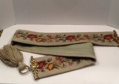 Vintage Green Needlepoint Bell Pull W/floral Design And Brass Hardware Nice!