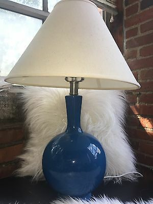 BLACK FRIDAY SALE vintage blue lamp with Ivory Lampshade works great pretty Blue