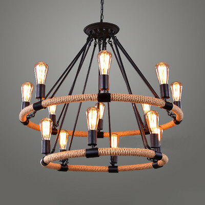 Industrial Vintage Wrought Iron Pendant Light Ceiling Lamp Hemp Rope Chandelier
