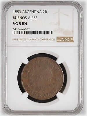1853 Argentina Buenos Aires 2 Reales